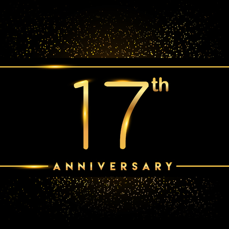 17th anniversary logo with confetti golden colored isolated on black background, vector design for greeting card and invitation card