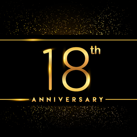 18th anniversary logo with confetti golden colored isolated on black background, vector design for greeting card and invitation card