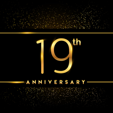 19th anniversary logo with confetti golden colored isolated on black background, vector design for greeting card and invitation card