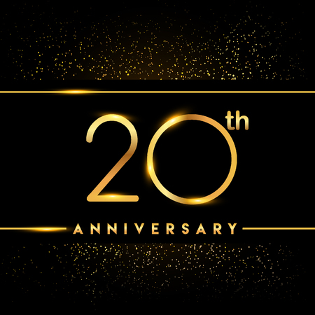 20th anniversary logo with confetti golden colored isolated on black background, vector design for greeting card and invitation card