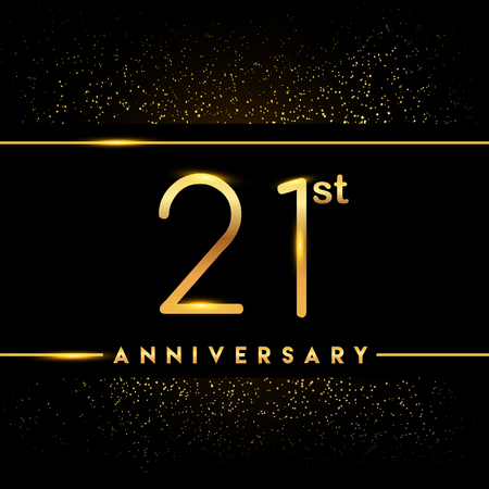 21st anniversary logo with confetti golden colored isolated on black background, vector design for greeting card and invitation card