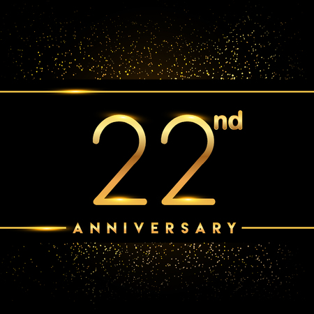 22nd anniversary logo with confetti golden colored isolated on black background, vector design for greeting card and invitation card Illustration