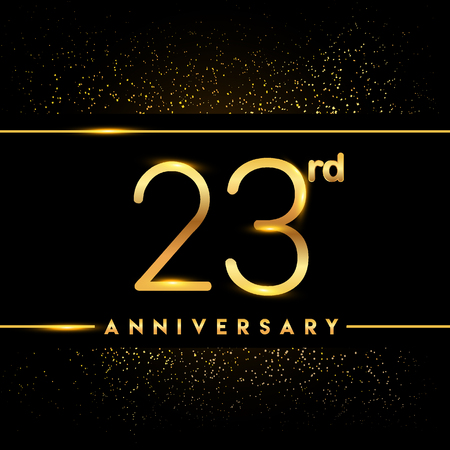 23rd anniversary logo with confetti golden colored isolated on black background, vector design for greeting card and invitation card