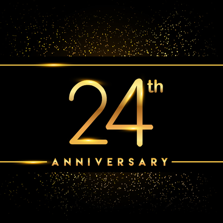24th anniversary logo with confetti golden colored isolated on black background, vector design for greeting card and invitation card