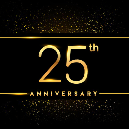 25th anniversary logo with confetti golden colored isolated on black background, vector design for greeting card and invitation card