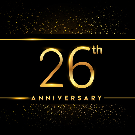 26th anniversary logo with confetti golden colored isolated on black background, vector design for greeting card and invitation card