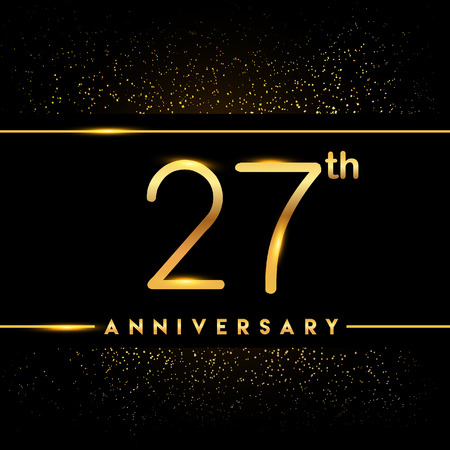 27th anniversary logo with confetti golden colored isolated on black background, vector design for greeting card and invitation card 일러스트