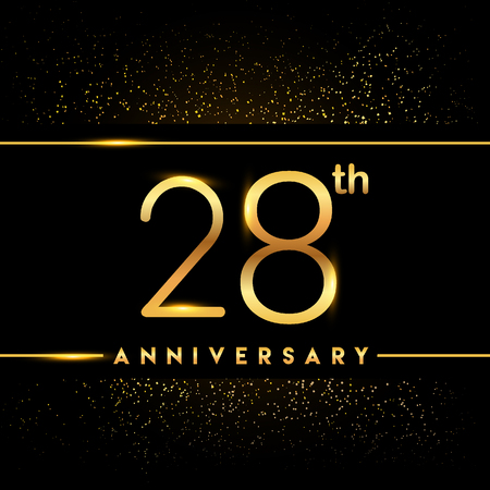 28th anniversary logo with confetti golden colored isolated on black background, vector design for greeting card and invitation card