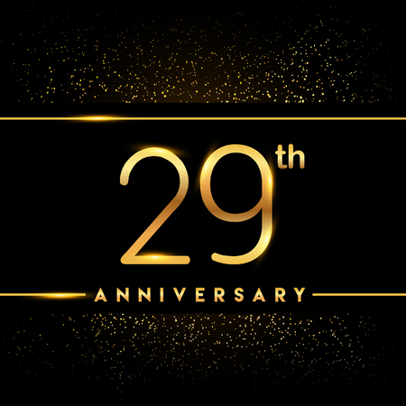 29th anniversary logo with confetti golden colored isolated on black background, vector design for greeting card and invitation card Illustration