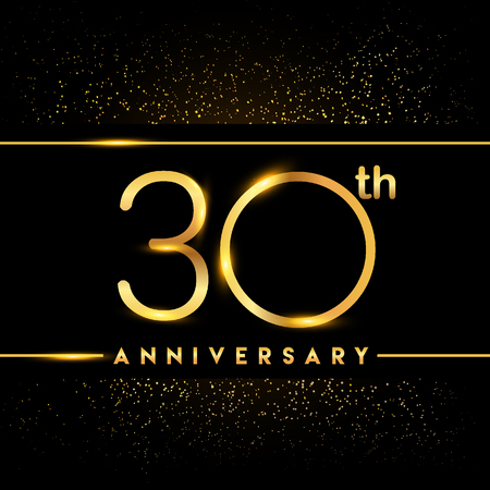 30th anniversary logo with confetti golden colored isolated on black background, vector design for greeting card and invitation card Illustration