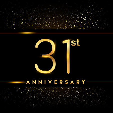 31st anniversary logo with confetti golden colored isolated on black background, vector design for greeting card and invitation card