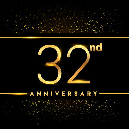 32nd anniversary logo with confetti golden colored isolated on black background, vector design for greeting card and invitation card Illustration