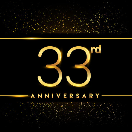 33rd anniversary logo with confetti golden colored isolated on black background, vector design for greeting card and invitation card Illustration