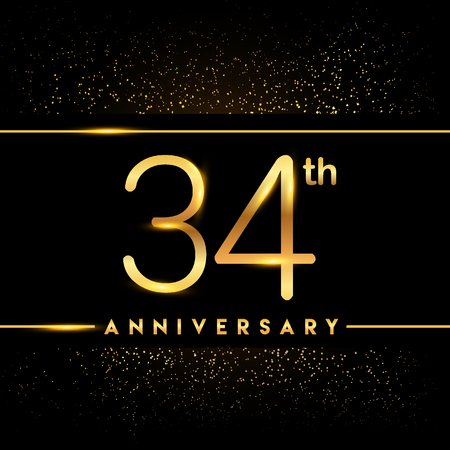 34th anniversary logo with confetti golden colored isolated on black background, vector design for greeting card and invitation card