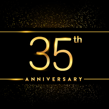 35th anniversary logo with confetti golden colored isolated on black background, vector design for greeting card and invitation card Illustration