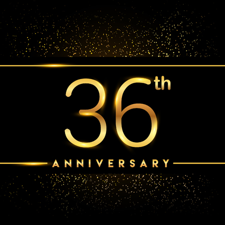 36th anniversary logo with confetti golden colored isolated on black background, vector design for greeting card and invitation card