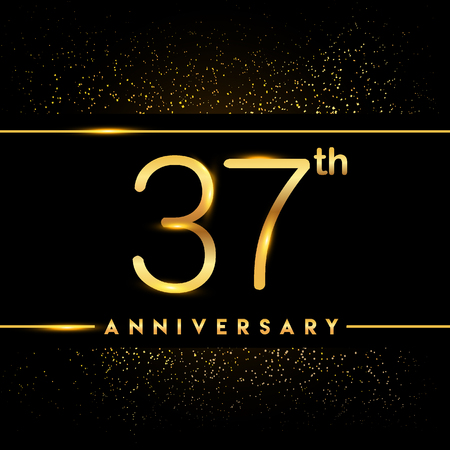 37th anniversary logo with confetti golden colored isolated on black background, vector design for greeting card and invitation card