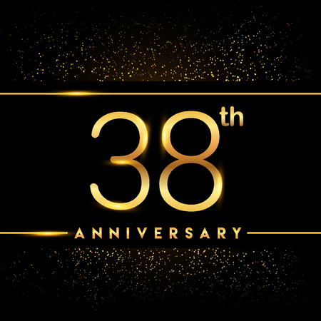 38th anniversary logo with confetti golden colored isolated on black background, vector design for greeting card and invitation card Illustration