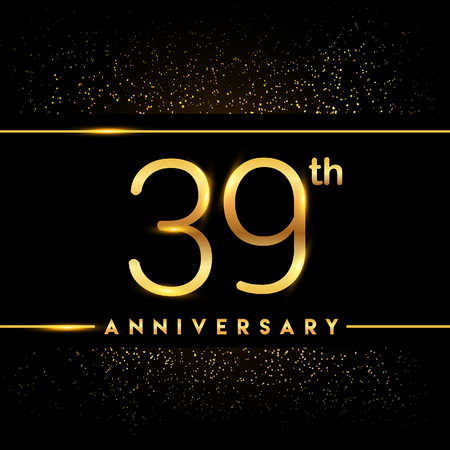 39th anniversary logo with confetti golden colored isolated on black background, vector design for greeting card and invitation card
