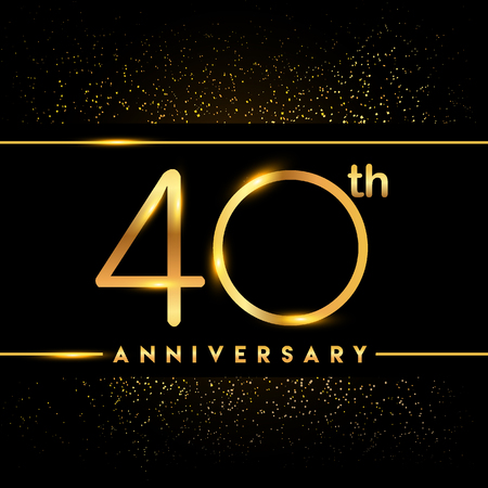 40th anniversary logo with confetti golden colored isolated on black background, vector design for greeting card and invitation card