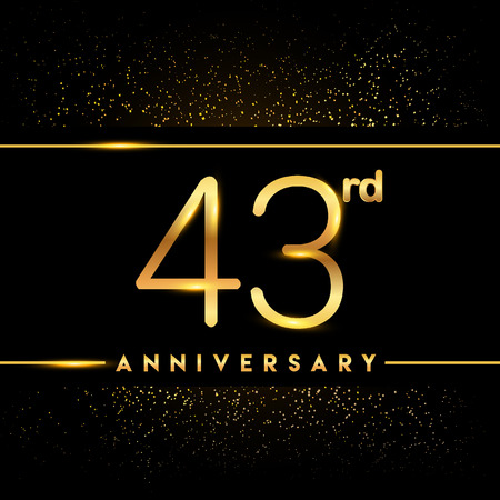 43rd anniversary logo with confetti golden colored isolated on black background, vector design for greeting card and invitation card Illustration