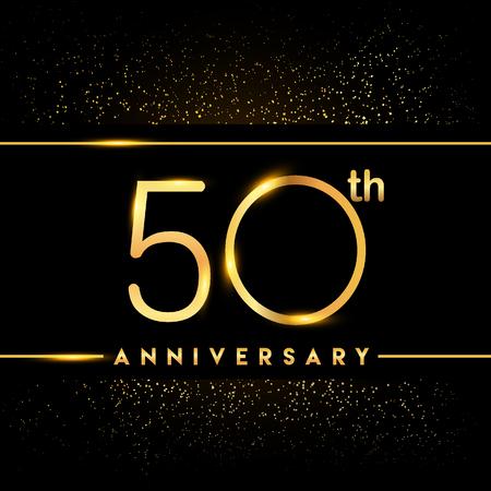 Logo du 50e anniversaire avec des confettis de couleur dorée isolé sur fond noir, conception de vecteur pour carte de voeux et carte d'invitation