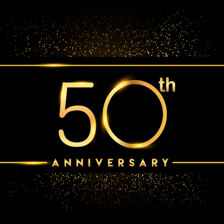 50th anniversary logo with confetti golden colored isolated on black background, vector design for greeting card and invitation card
