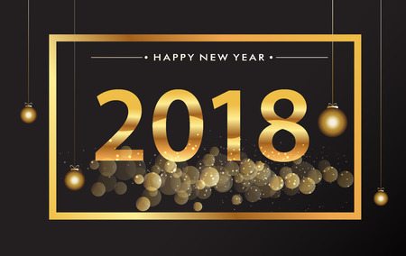 Happy New Year 2018 with glitter isolated on black background, text design gold colored, vector elements for calendar and greeting card.