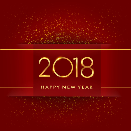 Happy New Year 2018 with glitter isolated on red background, text design gold colored, vector elements for calendar and greeting card.