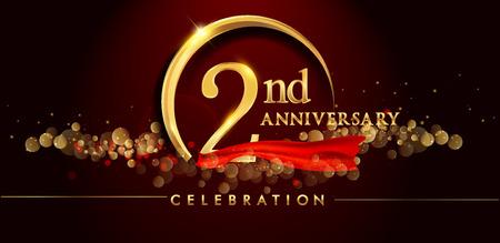2. Jahrestagslogo mit goldenem Ring, Konfetti und rotem Band lokalisiert auf elegantem schwarzem Hintergrund, Glanz, Vektordesign für Grußkarte und Einladungskarte