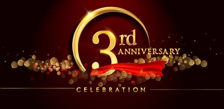 Logo zum 3. Jahrestag mit goldenem Ring, Konfetti und rotem Band lokalisiert auf elegantem schwarzem Hintergrund, Glanz, Vektordesign für Grußkarte und Einladungskarte