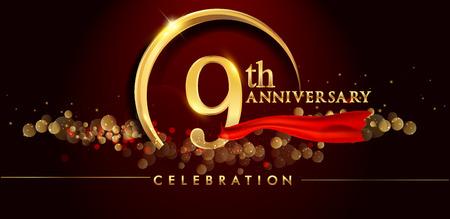 9. Jubiläumslogo mit goldenem Ring, Konfetti und rotem Band lokalisiert auf elegantem schwarzem Hintergrund, Glanz, Vektordesign für Grußkarte und Einladungskarte
