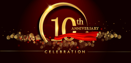 10th anniversary logo with golden ring, confetti and red ribbon isolated on elegant black background, sparkle, vector design for greeting card and invitation card Foto de archivo - 104613668