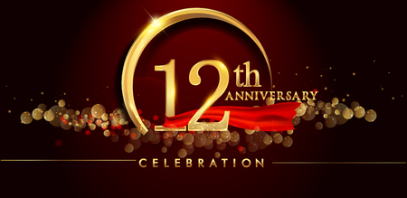 12th anniversary logo with golden ring, confetti and red ribbon isolated on elegant black background, sparkle, vector design for greeting card and invitation card