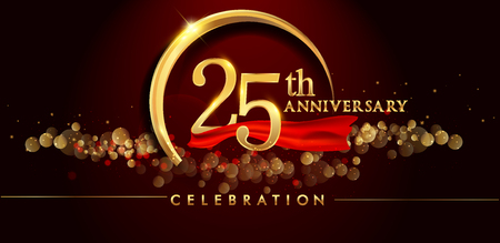 25th anniversary logo with golden ring, confetti and red ribbon isolated on elegant black background, sparkle, vector design for greeting card and invitation card