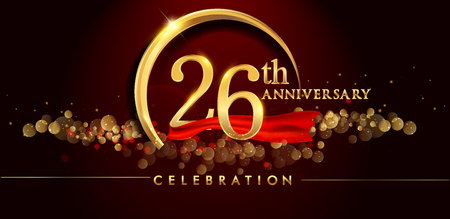 26th anniversary logo with golden ring, confetti and red ribbon isolated on elegant black background, sparkle, vector design for greeting card and invitation card