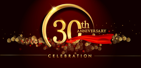 30th anniversary logo with golden ring, confetti and red ribbon isolated on elegant black background, sparkle, vector design for greeting card and invitation card