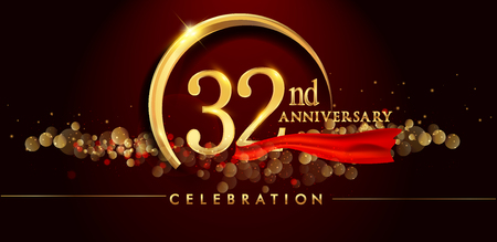 32nd anniversary logo with golden ring, confetti and red ribbon isolated on elegant black background, sparkle, vector design for greeting card and invitation card