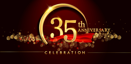 35th anniversary logo with golden ring, confetti and red ribbon isolated on elegant black background, sparkle, vector design for greeting card and invitation card