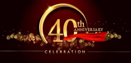 40th anniversary logo with golden ring, confetti and red ribbon isolated on elegant black background, sparkle, vector design for greeting card and invitation card
