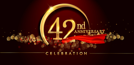 42nd anniversary logo with golden ring, confetti and red ribbon