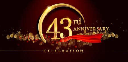 43rd anniversary logo with golden ring, confetti and red ribbon isolated on elegant black background, sparkle, vector design for greeting card and invitation card Illustration