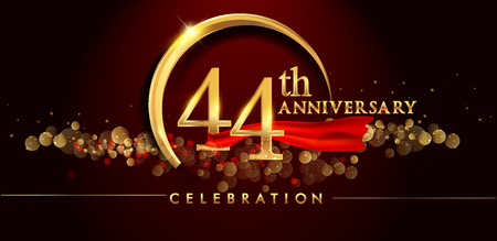 44th anniversary logo with golden ring, confetti and red ribbon isolated on elegant black background, sparkle, vector design for greeting card and invitation card