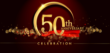 50th anniversary logo with golden ring, confetti and red ribbon isolated on elegant black background, sparkle, vector design for greeting card and invitation card