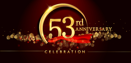 53rd anniversary logo with golden ring, confetti and red ribbon isolated on elegant black background, sparkle, vector design for greeting card and invitation card
