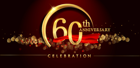 60th anniversary logo with golden ring, confetti and red ribbon isolated on elegant black background, sparkle, vector design for greeting card and invitation card