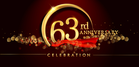 63rd anniversary logo with golden ring, confetti and red ribbon isolated on elegant black background, sparkle, vector design for greeting card and invitation card