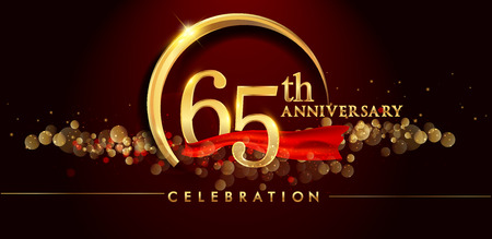 65th anniversary logo with golden ring, confetti and red ribbon isolated on elegant black background, sparkle, vector design for greeting card and invitation card Illusztráció