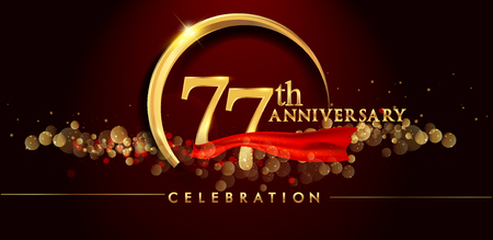77th anniversary logo with golden ring, confetti and red ribbon isolated on elegant black background, sparkle, vector design for greeting card and invitation card