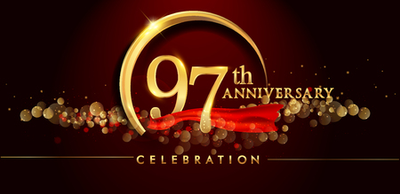97th anniversary logo with golden ring, confetti and red ribbon isolated on elegant black background, sparkle, vector design for greeting card and invitation card